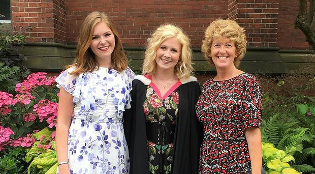 Jennifer Nicholl with her daughters Alice (centre) and Connie