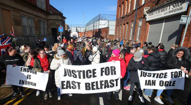 Women in east Belfast come together for a march against intimidation by paramilitary organisations in the area