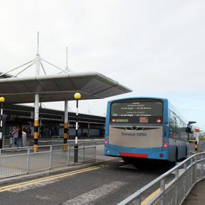 People were forced to queue out in the cold at Belfast International Airport due to the long security queues.