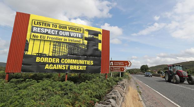 Anti Brexit billboards on the northern side of the border between Newry in Northern Ireland and Dundalk in the Republic of Ireland