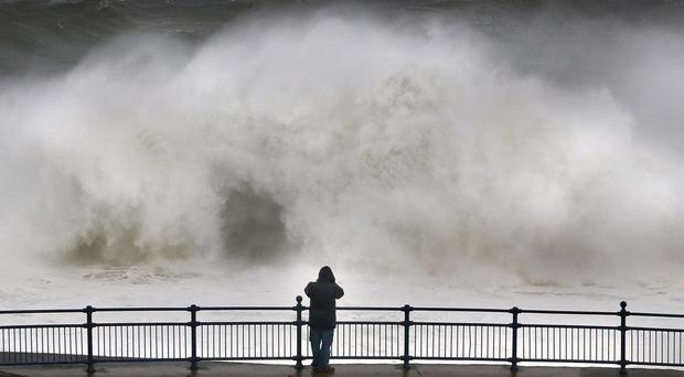 Monster waves brought by Storm Gareth crash along the shoreline at Portstewart