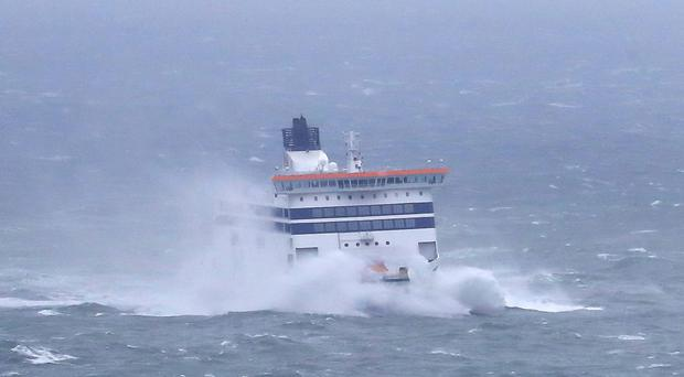 A ferry arrives at the Port of Dover in Kent as bad weather causes ferry delays. (Gareth Fuller/PA Images)