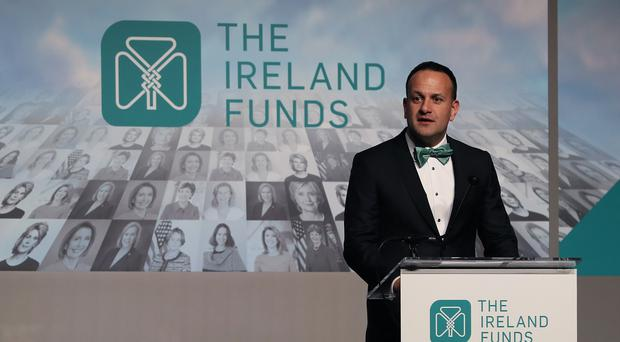 Taoiseach Leo Varadkar speaking at the Ireland Funds gala dinner at the National Building Museum in Washington DC during his visit to the US (Brian Lawless/PA)