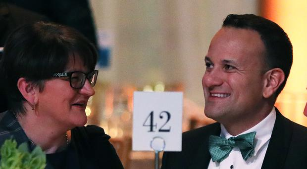 Taoiseach Leo Varadkar (right) in conversation with DUP leader Arlene Foster at the Ireland Funds gala dinner at the National Building Museum in Washington DC (Brian Lawless/PA)