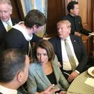 DUP leader Arlene Foster chats to US President Donald Trump while Taoiseach Leo Varadkar talks with Speaker Nancy Pelosi at a lunch hosted by her yesterday
