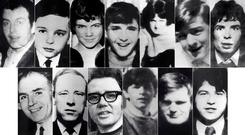 The victims: top row (from left) Patrick Doherty, Gerald Donaghey, John 'Jackie' Duddy, Hugh Gilmour, Michael Kelly, Michael McDaid and Kevin McElhinney. Bottom row: Bernard McGuigan, Gerard McKinney, William McKinney, William Nash, James Wray and John Young
