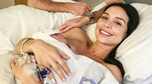 Christine Lampard with her husband Frank after giving birth last year
