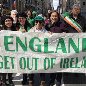 Mary Lou McDonald marching in New York ahead of St Patrick's Day with the controversial banner