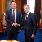 Taoiseach Leo Varadkar (left) greets European Council President Donald Tusk in Dublin