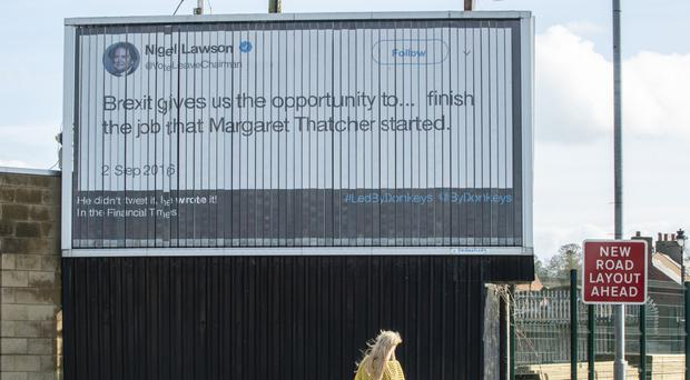 A poster put up by Led By Donkeys quotes Nigel Lawson