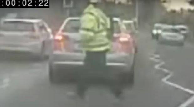 CCTV footage of the suspected gunman behind the murder of Jim Donegan (PSNI/PA)
