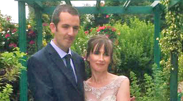 Jonathan Peden and his new bride Roisin before the fatal accident at work just weeks later