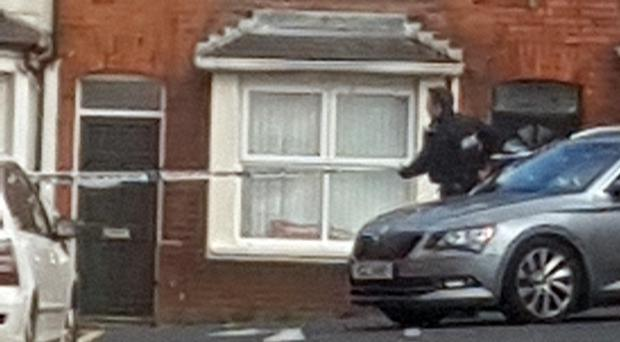 A police presence could be seen at Dunluce Avenue in south Belfast (Maria Lyttle/PA)