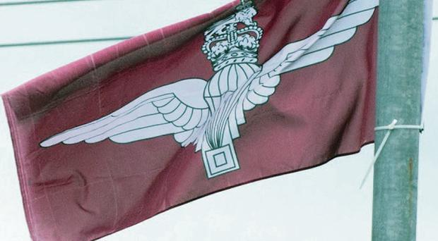 Parachute Regiment flags have been erected in Belfast.
