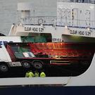 Toppled lorries on board the European Causeway ferry (Andrew Milligan/PA)
