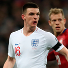 Declan Rice in action for England during the Euro 2020 qualifying match against Czech Republic