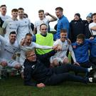 Ballinamallard United celebrate their semi-final victory.