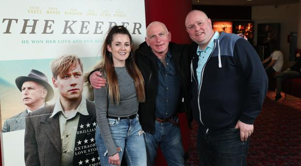 Gangs of New York actor Gary Lewis (centre) with local actors Sheena Kelly and Ciaran McCrea at the Northern Ireland premiere screening of The Keeper