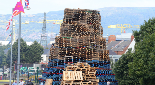 The bonfire at Bloomfield Walkway in 2018. Pallets have been collected for this year already.