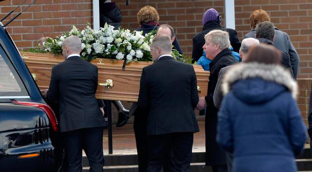Mourners at Armagh Free Presbyterian church for the funeral of Cole Murray