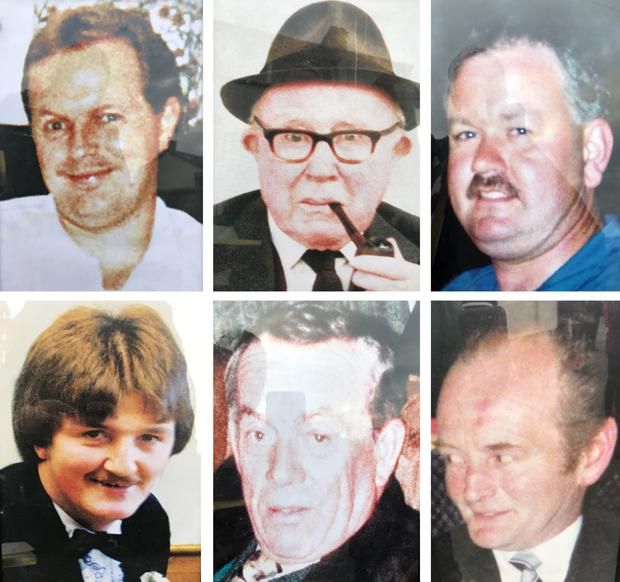 Patsy O'Hare, Barney Green, Adrian Rogan, (bottom row left to right) Eamon Byrne, Daniel McCreanor and Malcom Jenkinson, who were killed in the tiny Heights Bar in Loughinisland, Co Down by UVF gunmen (PA)