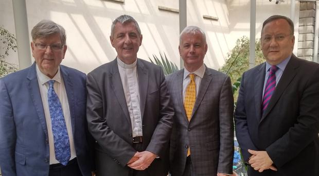 From left: the Very Rev Dr Trevor Morrow; Rt Rev Dr Charles McMullen, Moderator of the Presbyterian Church; Sean Crowe TD; and Rev Trevor Gribben in Dublin