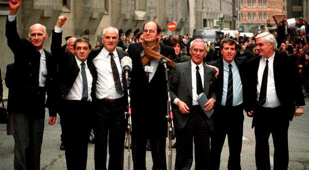 Birmingham Six: (from left) John Walker, Paddy Hill, Hugh Callaghan (with Chris Mullin MP), Richard McIlkenny, Gerry Hunter and William Power