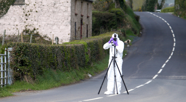 Police at the scene of the alert in Castlewellan yesterday