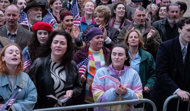 Scenes from the last episode of Derry Girls, set during the visit of US President Bill Clinton