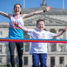 Ciara Mageean and Reece Magill launch the Stormont Mile in Belfast yesterday