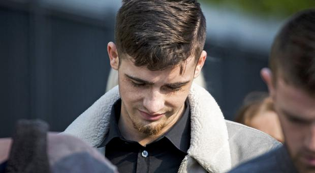Footballer Jay Donnelly at Laganside Court in Belfast (Liam McBurney/PA)