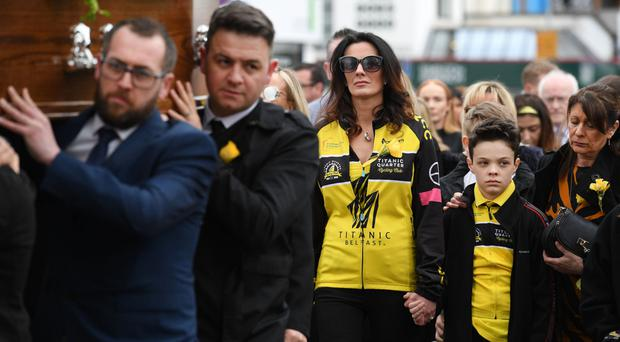 Philip Corr's widow Kelly in the cortege