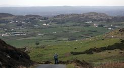 A man looks across the border between the Republic of Ireland and Northern Ireland from Edentober in Co Louth to Newry in Co Down