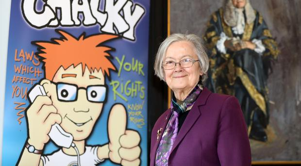 Lady Hale at the Children's Law Centre in Belfast's Royal Courts of Justice yesterday