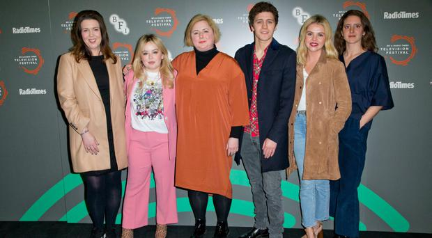 From left: Derry Girls' creator Lisa McGee and cast members Nicola Coughlan, Siobhan McSweeney, Dylan Llewellyn, Saoirse-Monica Jackson and Louisa Harland