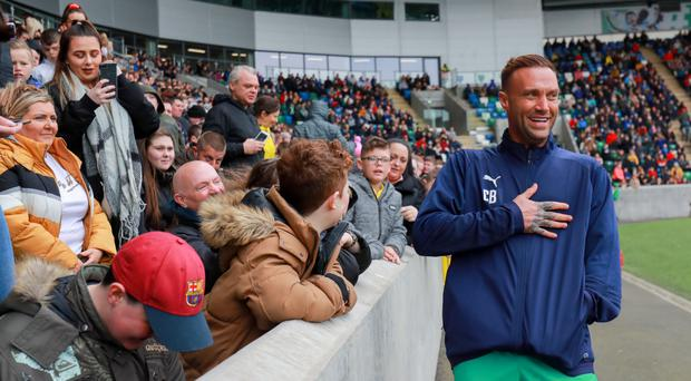 Calum Best at the celebrity football match at the National Stadium at Windsor Park in Belfast