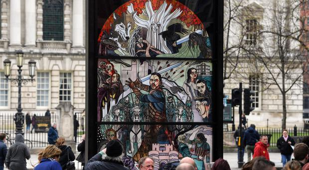 The stained glass window marking the final season of Game of Thrones outside Belfast City Hall