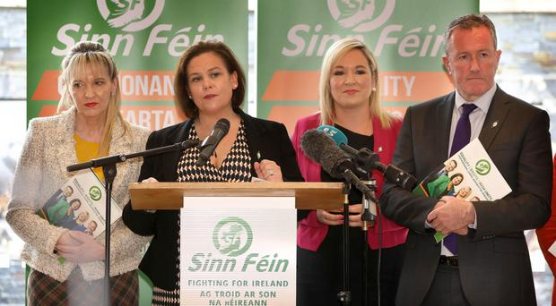 Sinn Fein's Martina Anderson, Mary Lou McDonald, Michelle O'Neill and Conor Murphy at yesterday's manifesto launch