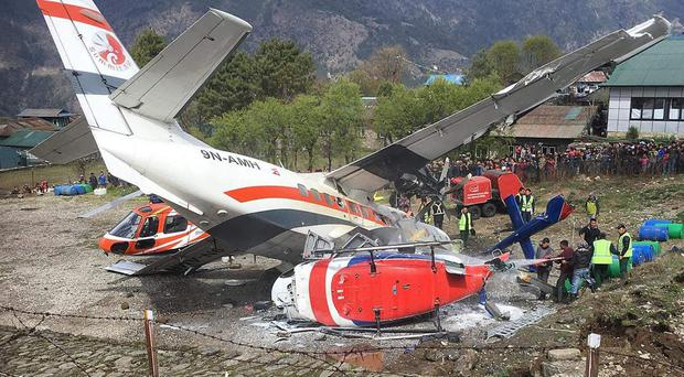 The aftermath of the plane crash in Nepal on Saturday