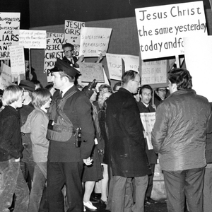 Protesters outside a performance of Jesus Christ Superstar at Belfast's Lyric Theatre in 1974