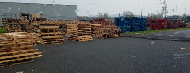 Pallets stored at Avoniel Leisure Centre car park ahead of July 11