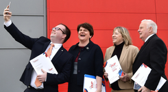DUP leader Arlene Foster gets a selfie with party candidates