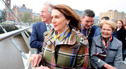 Nancy Pelosi (centre) and US congressman Richard Neal (left) on the Peace Bridge in Londonderry yesterday