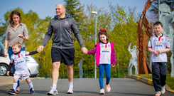 Rory Best takes a stroll with wife Jodie and children (from left) Richie, Poppy and Ben