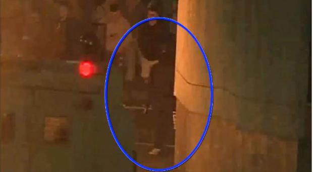 CCTV still image of the man (circled) suspected of firing the shots that killed Lyra McKee at a protest in Londonderry (PSNI/PA)