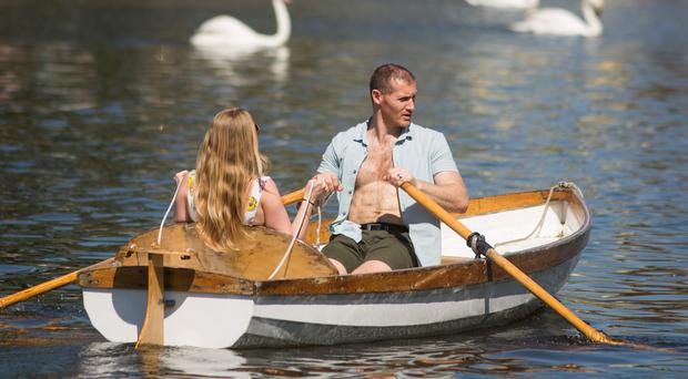 People take boat rides on the river Avon in Stratford-Upon-Avon on Easter Sunday (Aaron Chown/PA)