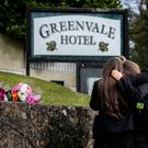 Floral tributes outside the Greenvale Hotel in Cookstown