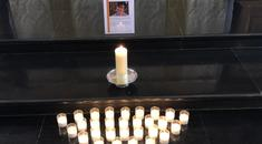 Twenty-nine candles are placed at a vigil for Lyra McKee at St Bride's Church in London (NUJ/PA)