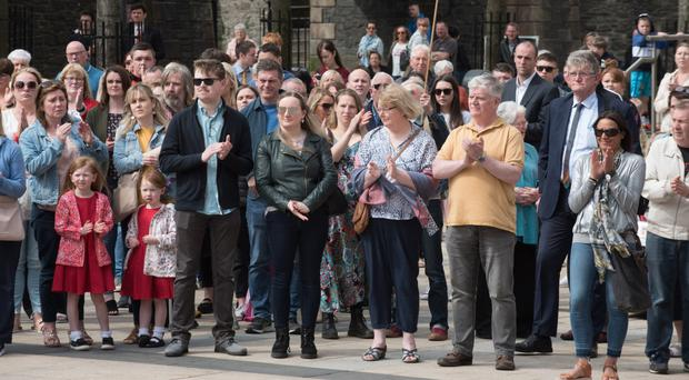 Hundreds of people gathered at Guild Hall Square in Londonderry yesterday in memory of murdered journalist Lyra McKee