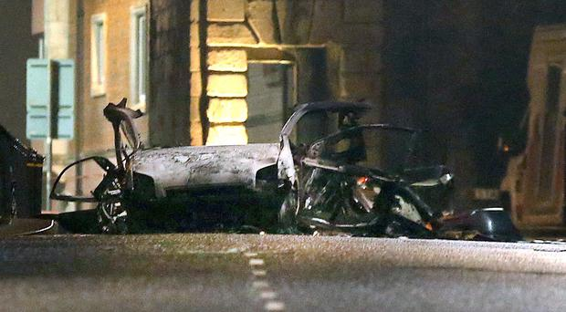 The scene of a suspected car bomb on Bishop Street in Londonderry (Steven MCauley/PA)